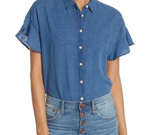 Madewell central ruffle chambray short sleeve top